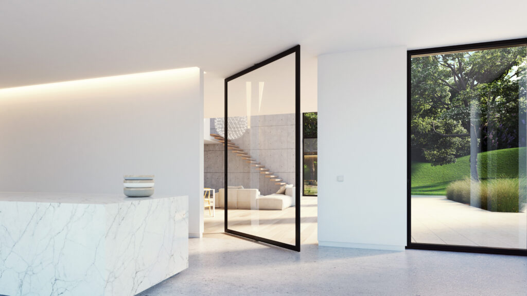London Made To Measure Aluminium Pivot Folding Sliding Internal Doors Surrey Invisible Hinges Colour Frames - Portapivot -